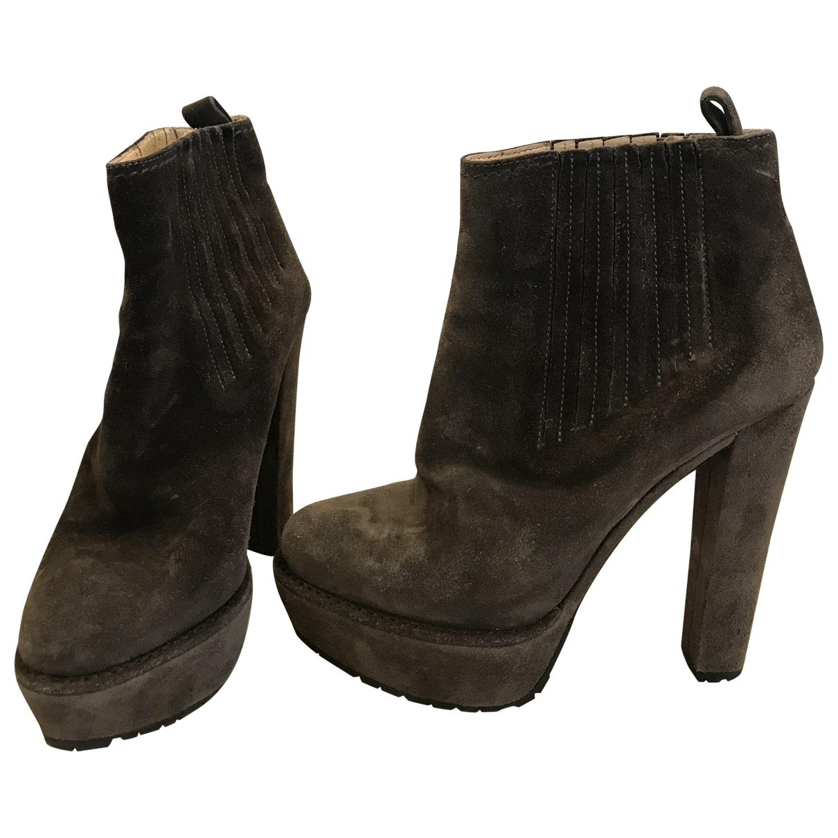 Prada \N Brown Velvet Ankle boots for Women 36.5 EU