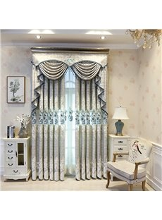 Luxurious and Elegant Light Gray Embroidered Blackout Grommet Curtains for Living Room Bedroom