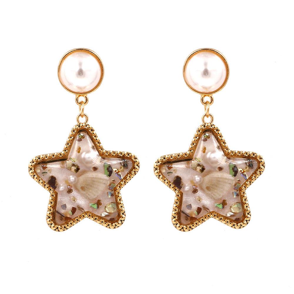 Bohemian Shell Star Earring Drop Rhinestone Pearl Earrings For Women Beach Style
