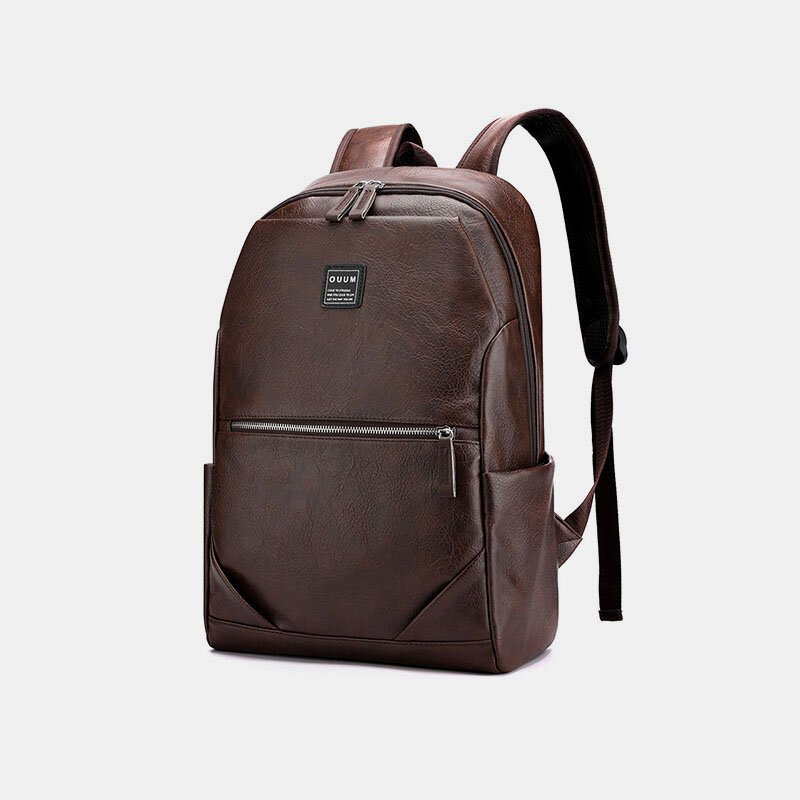 Men PU Leather Business Large Capacity 15.6 Inch Laptop Bag Multifunction Backpack