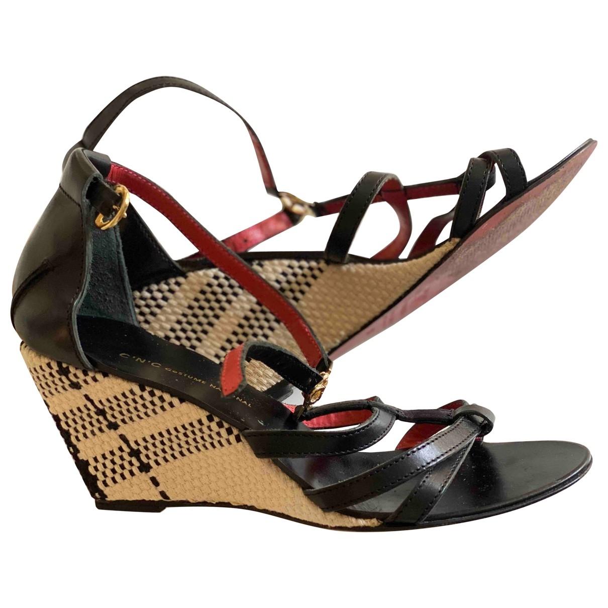 Costume National \N Black Leather Sandals for Women 38 EU