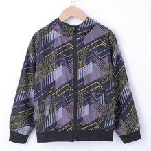 Boys Letter Graphic Zip Up Hooded Windbreaker Jacket