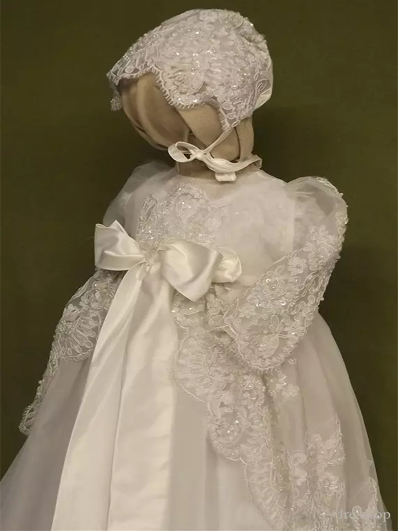 Ericdress 2-Pieces Beading Appliques Baby Girls Christening Gown with Hat