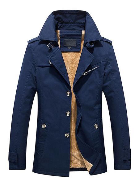 Milanoo Lined Trench Coat Men's Long Sleeve Cuff Strap Warm Winter Coat