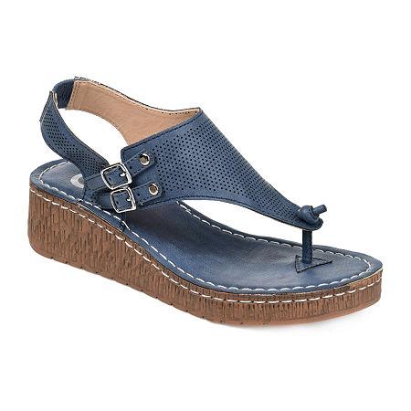 Journee Collection Womens Mckell Pumps Wedge Heel, 5 1/2 Medium, Blue