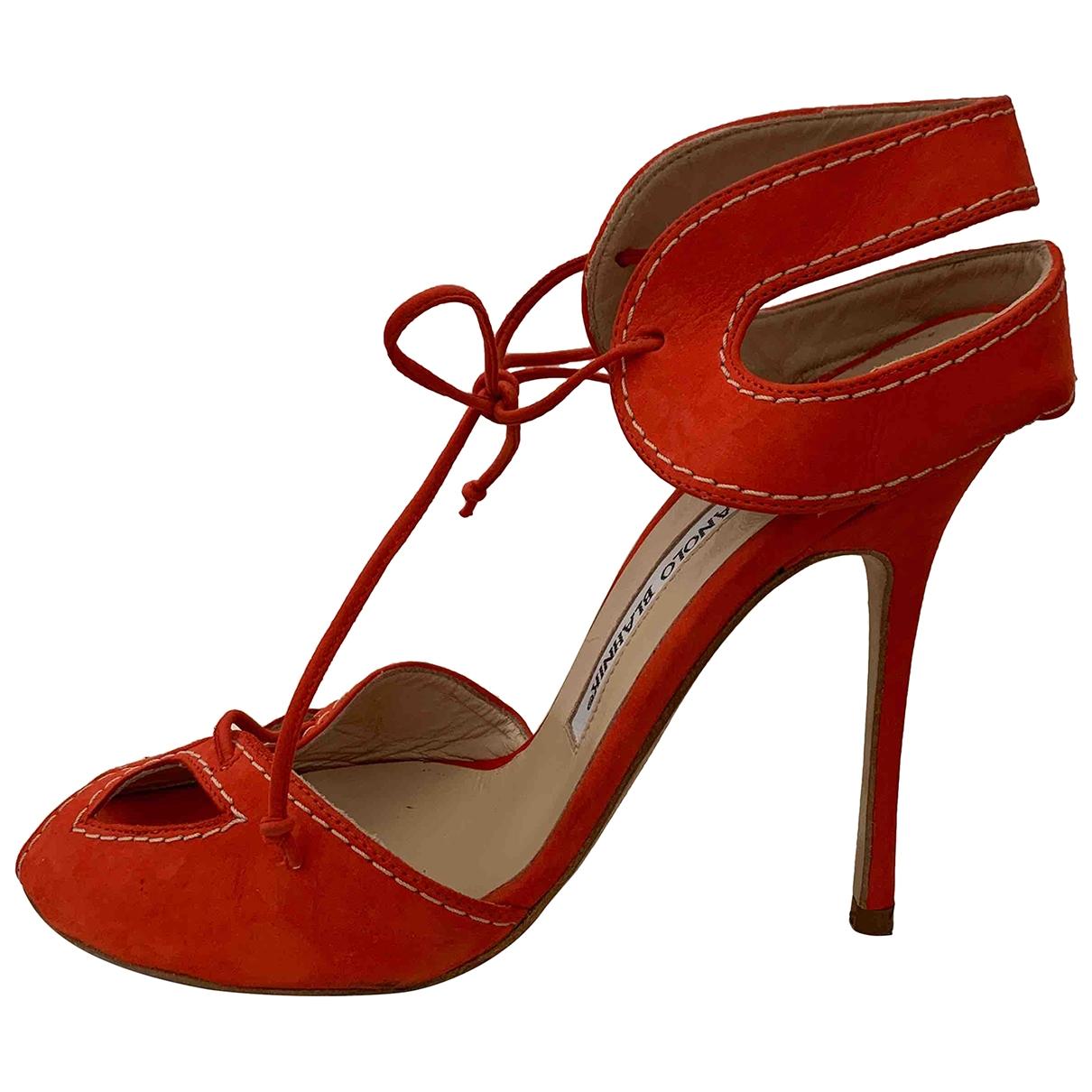 Manolo Blahnik \N Orange Suede Sandals for Women 36 EU