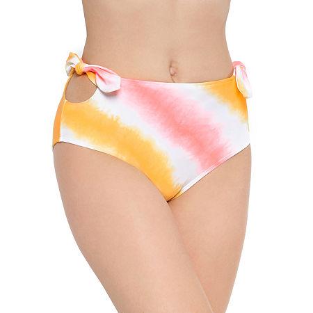 Arizona Tie Dye High Waist Bikini Swimsuit Bottom Juniors, Large , Yellow