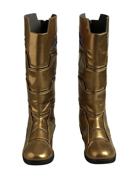 Milanoo Shazam Movie Cosplay Boots Freddy Freeman Captain Marvel JR. DC Comics Cosplay