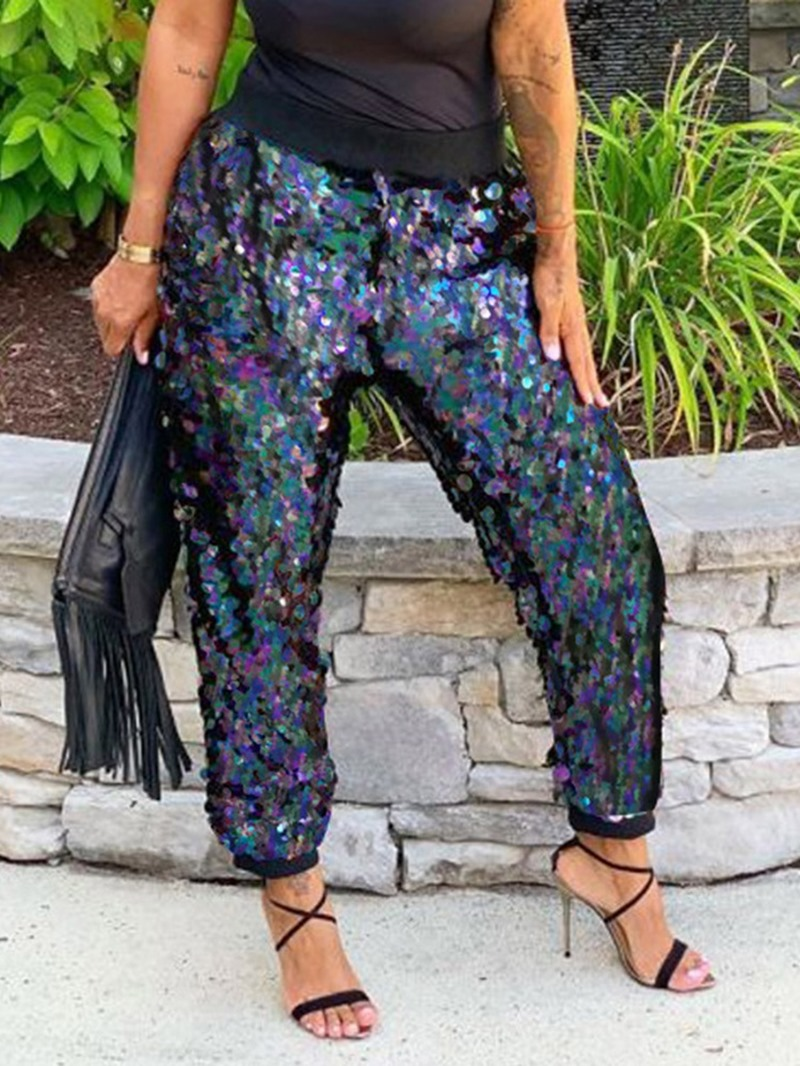 Ericdress Loose Color Block Sequins Full Length High Waist Casual Pants