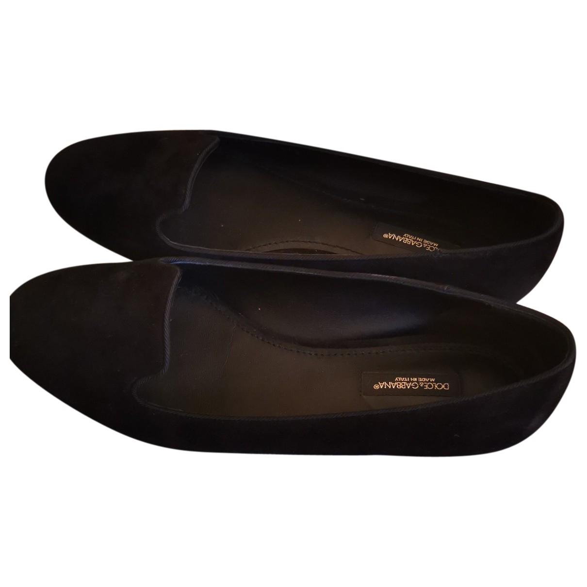 Dolce & Gabbana \N Black Suede Flats for Women 37.5 EU