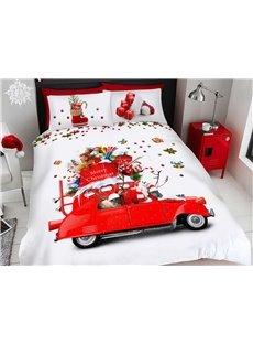 Santa Claus and Santa Car Cartoon Christmas Duvet Cover Set 3D Printed 4-Piece Bedding Sets