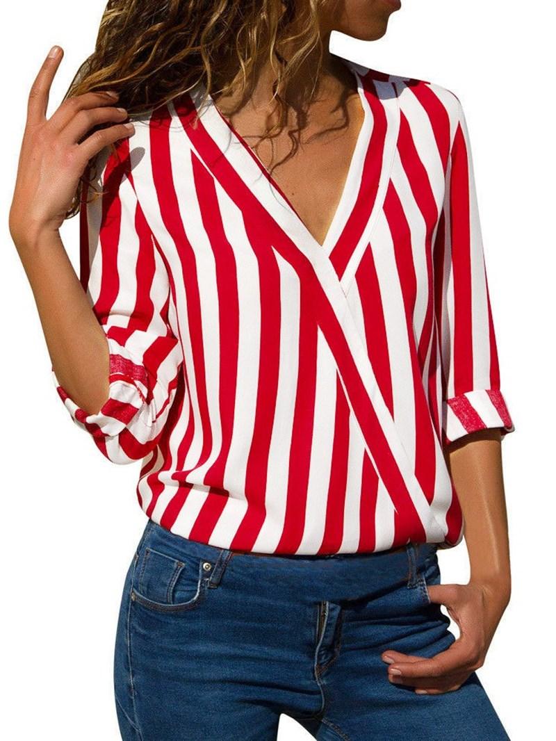 Ericdress V-Neck Regular Asymmetric Long Sleeve Mid-Length Blouse