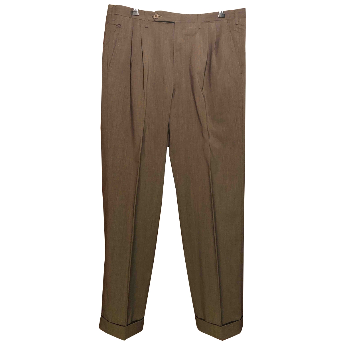 Non Signé / Unsigned \N Green Wool Trousers for Men 48 IT