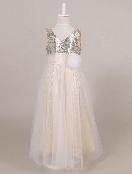 Milanoo Sequin Flower Girl Dress Boho Tulle Ankle Length Maxi Toddler's Pageant Dress