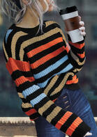 Colorful Striped Splicing Knitted Sweater
