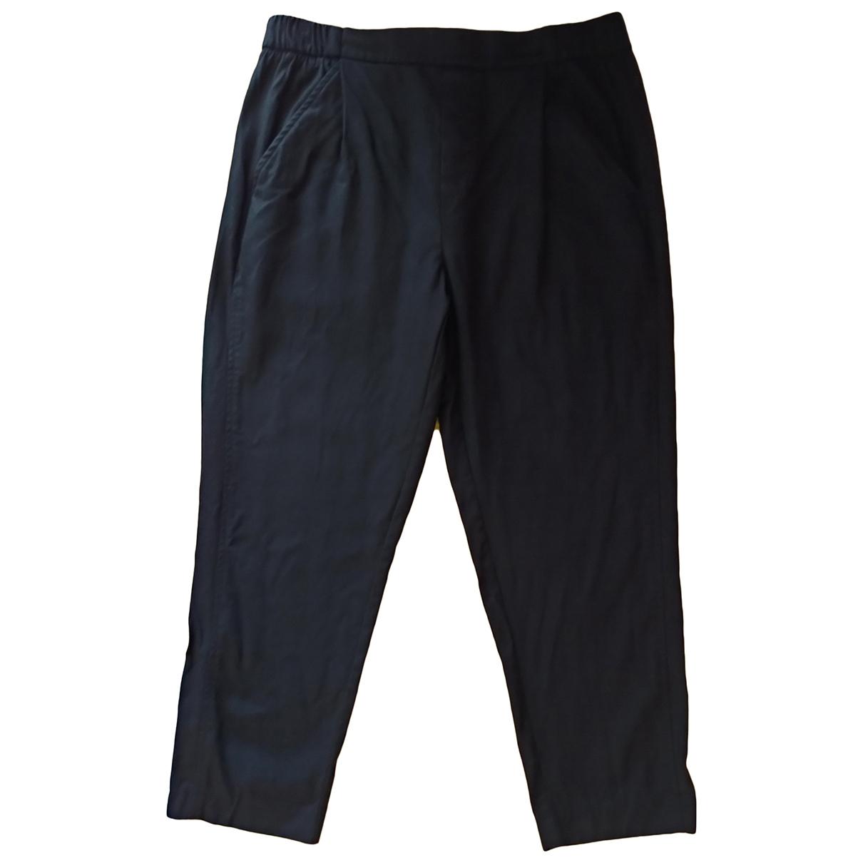 Adolfo Dominguez \N Black Cotton Trousers for Women 40 FR