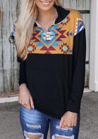 Aztec Geometric Kangaroo Pocket Zipper Collar Sweatshirt - Black