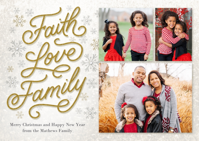 Holiday Photo Cards 5x7 Cards, Standard Cardstock 85lb, Card & Stationery -Elegant Faith Love Family