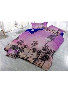 Coconut Trees Under The Purple Sky Wear-resistant Breathable High Quality 60s Cotton 4-Piece 3D Bedding Sets