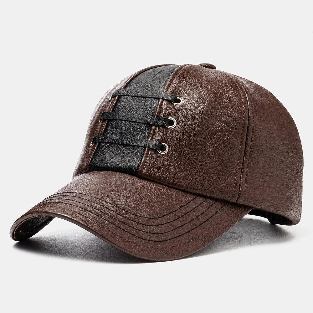 Men's Leather Woven Hat Baseball Caps Warm Hats
