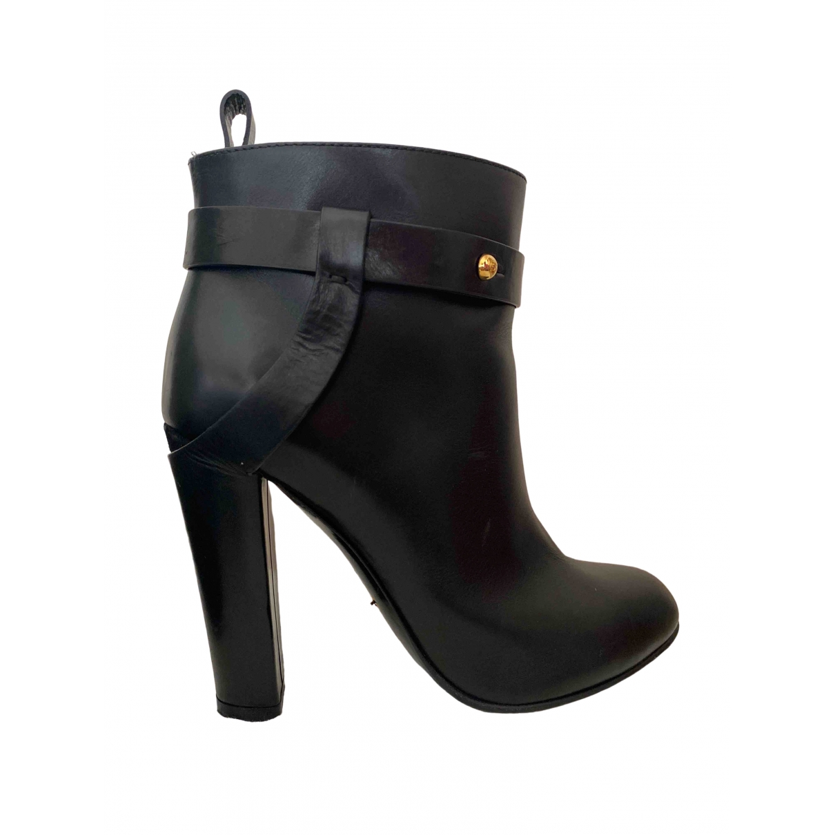 Sergio Rossi \N Black Leather Ankle boots for Women 37.5 EU