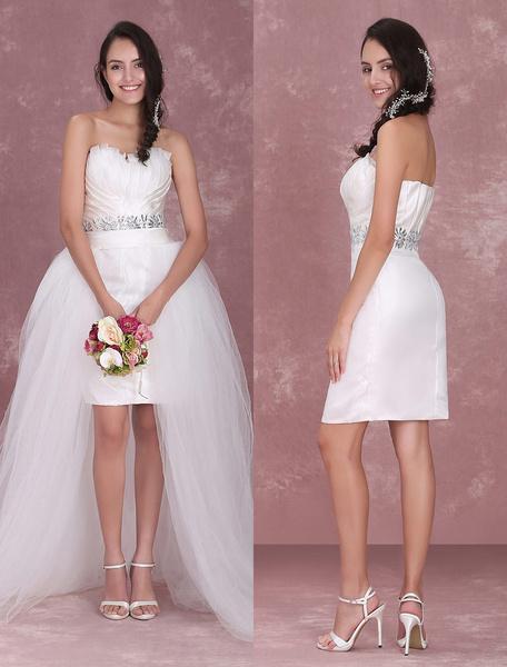 Milanoo Ivory Sheath Sweetheart Neck Rhinestone Organza Bridal Wedding Dress