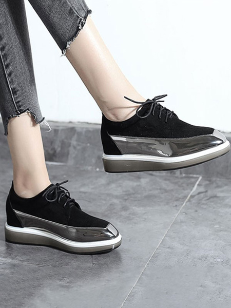 Milanoo Black Oxford Shoes Women Round Toe PU Leather Lace Up Flatform Oxfords