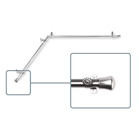 Rod Desyne Corner 13/16 IN Curtain Rod, One Size , Silver