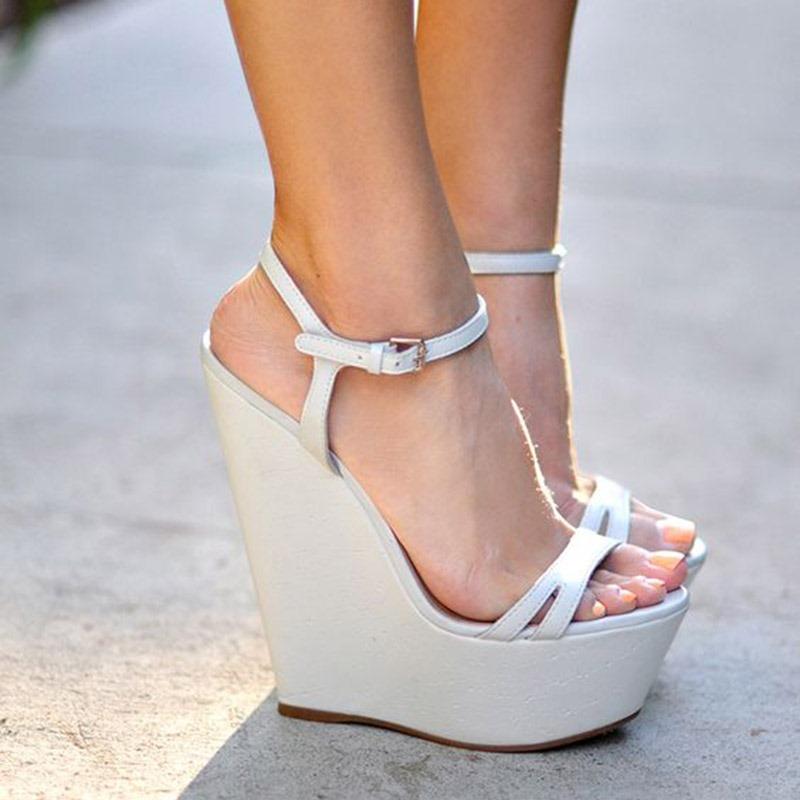 Ericdress Plain Ankle Strap Platform Wedge Heel Women's Sandals