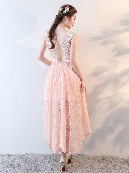 Milanoo Homecoming Dresses Lace High Low Cocktail Dress Peach Beaded Keyhole Formal Party Dress