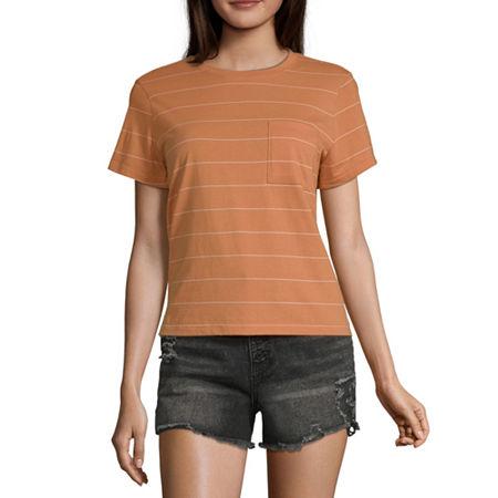 Arizona Juniors-Womens Crew Neck Short Sleeve T-Shirt, Medium , Brown