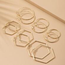 6pairs Geometric Hoop Earrings