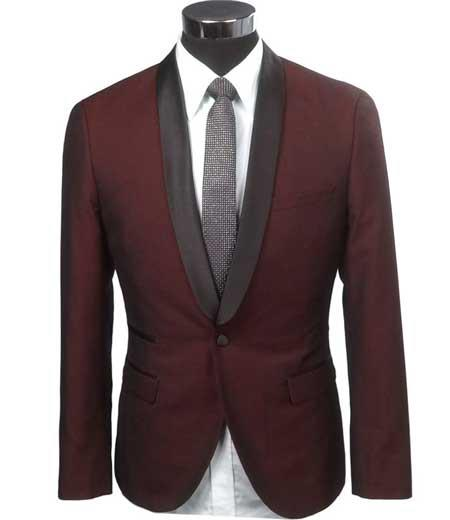 1 Button Burgundy Two Toned Black Lapel Satin Shawl Collar Jacket