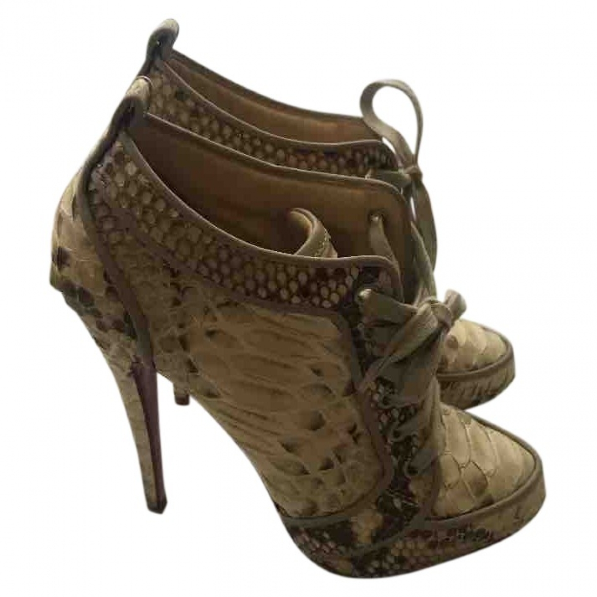 Christian Louboutin \N Beige Python Ankle boots for Women 38.5 EU