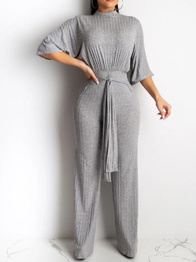 Ericdress Plain Lace-Up Casual Loose Straight Jumpsuit