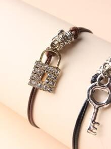2pcs Couple Key & Lock Charm Bracelet