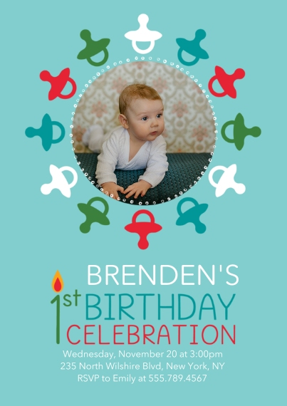 Kids Birthday Party Invites 5x7 Cards, Standard Cardstock 85lb, Card & Stationery -1st Birthday Pacifiers