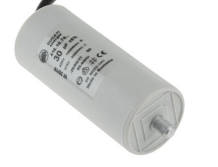Ducati Energia 30μF Polypropylene Capacitor PP 400 → 500V ac ±5% Tolerance Stud Mount 4.16.10 Series