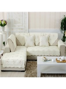 White Simple Style With Beautiful Peony Print Slip Resistant Sofa Covers