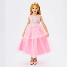Toddler Girls Appliques Tie Back Mesh Panel Party Dress
