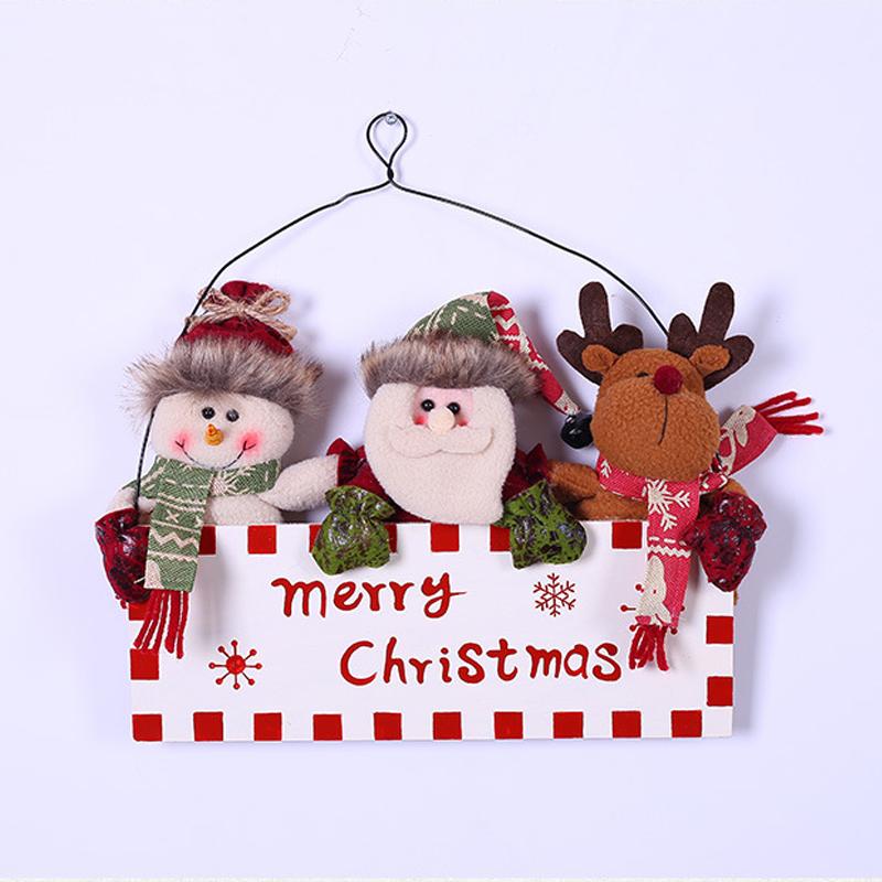 3 Mascots for Christmas Wooden Hanging Sign Door Decor