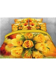 Vivilinen Romantic Bouquet of Bright Yellow Roses Printed 4-Piece 3D Bedding Sets/Duvet Cover