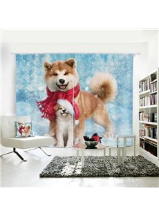 Vivid and Cute Husky Pattern 3D Printed Polyester Curtain