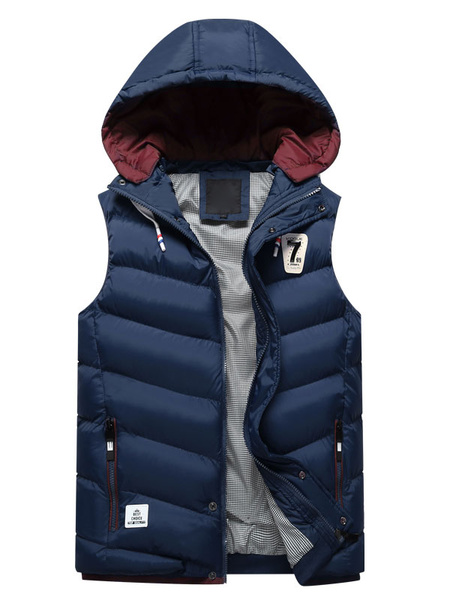 Milanoo Blue Quilted Jacket Hooded Sleeveless Logo Print Zip Up Slim Fit Men's Winter Vest Jacket