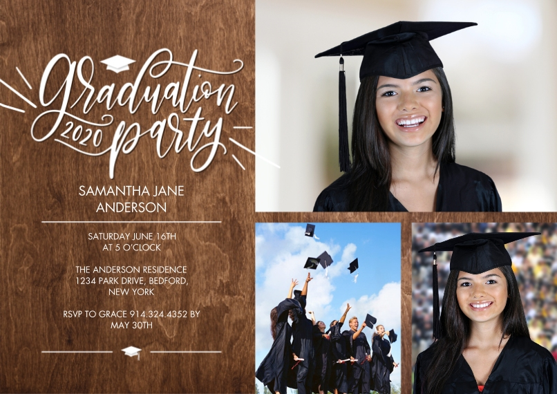 Graduation Invitations 5x7 Cards, Premium Cardstock 120lb with Scalloped Corners, Card & Stationery -Graduation Party Script by Tumbalina