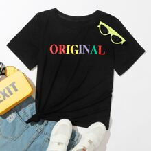 Letter Graphic Round Neck T-Shirt
