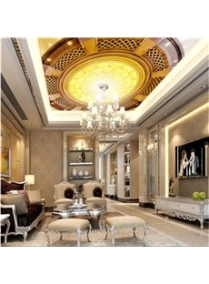 3D Church Ceiling Printed PVC Waterproof Sturdy Eco-friendly Self-Adhesive Golden Ceiling Murals