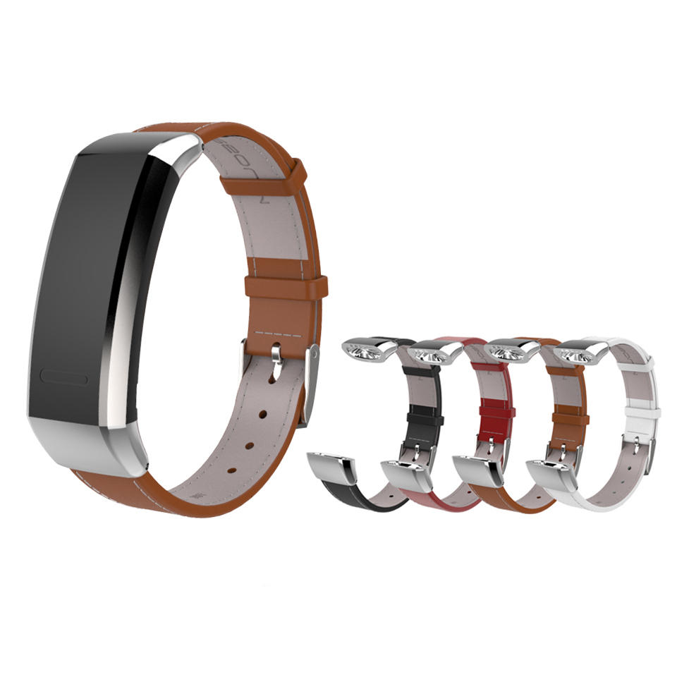 Mijobs Leather Watch Strap Replacement Watch Band for Huawei Band 2 Pro B29 B19