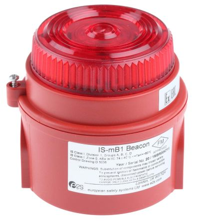 e2s IS-mB1 Red LED Beacon, 24 V dc, Flashing, Surface Mount
