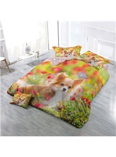 Pomeranian Dog and Spring Floral Wear-resistant Breathable High Quality 60s Cotton 4-Piece 3D Bedding Sets